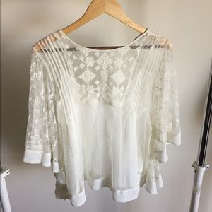 Zara white lace top. Camisole attached. Like new!